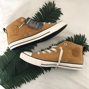 Converse All Star Camel Suede Fat Tongue Mid Tops